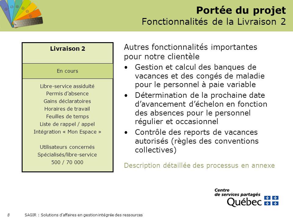 SAGIR : Solutions daffaires en gestion intégrée des ressources 8 Gestion et calcul des banques de vacances et des congés de maladie pour le personnel