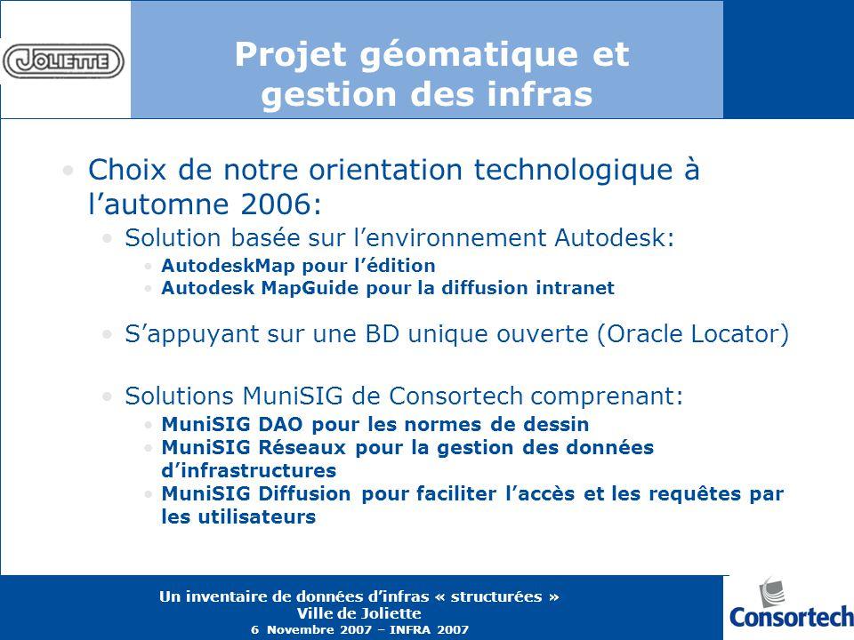 Un inventaire de données dinfras « structurées » Ville de Joliette 6 Novembre 2007 – INFRA 2007 Projet géomatique et gestion des infras Choix de notre