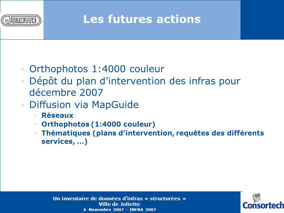 Un inventaire de données dinfras « structurées » Ville de Joliette 6 Novembre 2007 – INFRA 2007 Les futures actions Orthophotos 1:4000 couleur Dépôt d