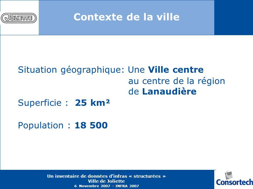 Un inventaire de données dinfras « structurées » Ville de Joliette 6 Novembre 2007 – INFRA 2007 Contexte de la ville Situation géographique: Une Ville