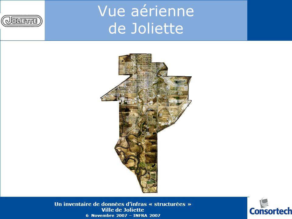 Un inventaire de données dinfras « structurées » Ville de Joliette 6 Novembre 2007 – INFRA 2007 Vue aérienne de Joliette