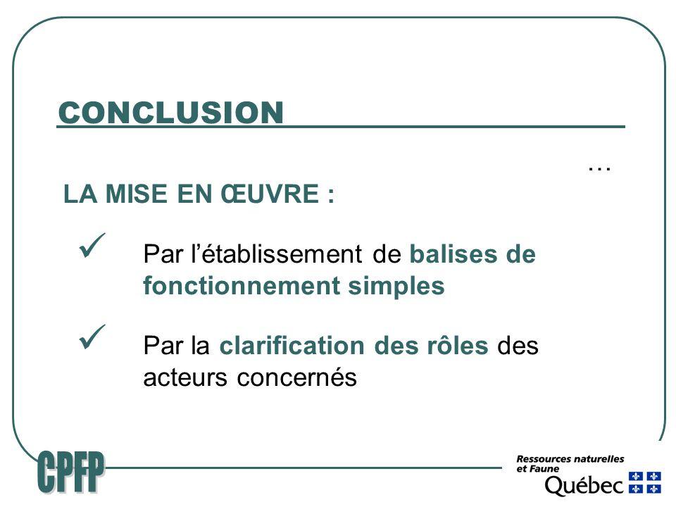 CONCLUSION … LA MISE EN ŒUVRE : Par létablissement de balises de fonctionnement simples Par la clarification des rôles des acteurs concernés