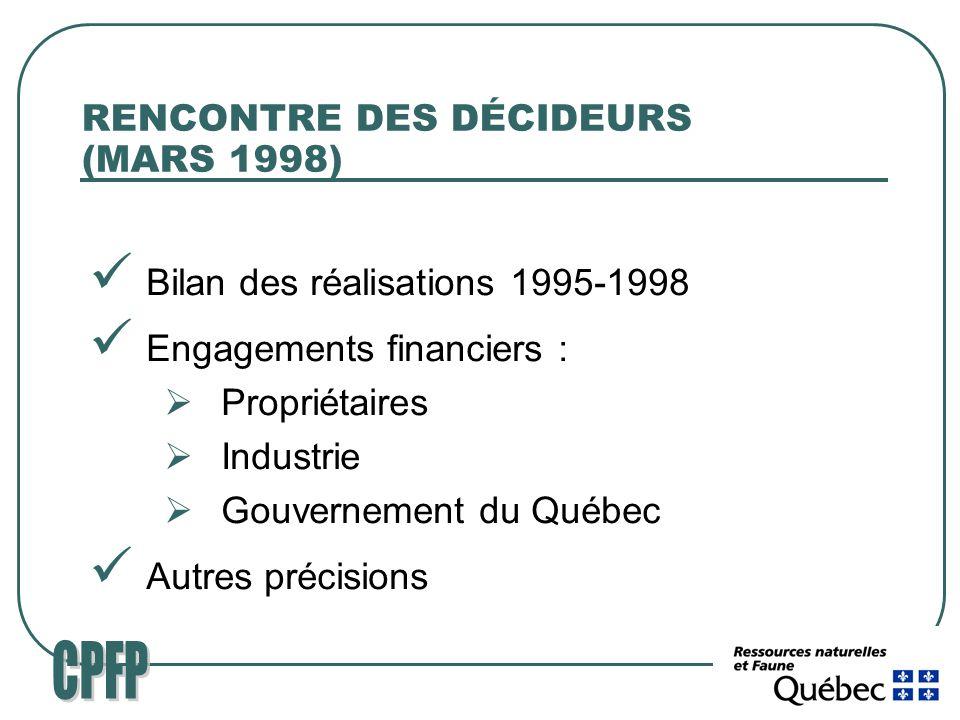 RENCONTRE DES DÉCIDEURS (MARS 1998) Bilan des réalisations 1995-1998 Engagements financiers : Propriétaires Industrie Gouvernement du Québec Autres précisions