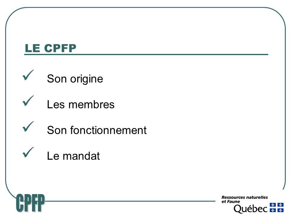 LE CPFP Son origine Les membres Son fonctionnement Le mandat