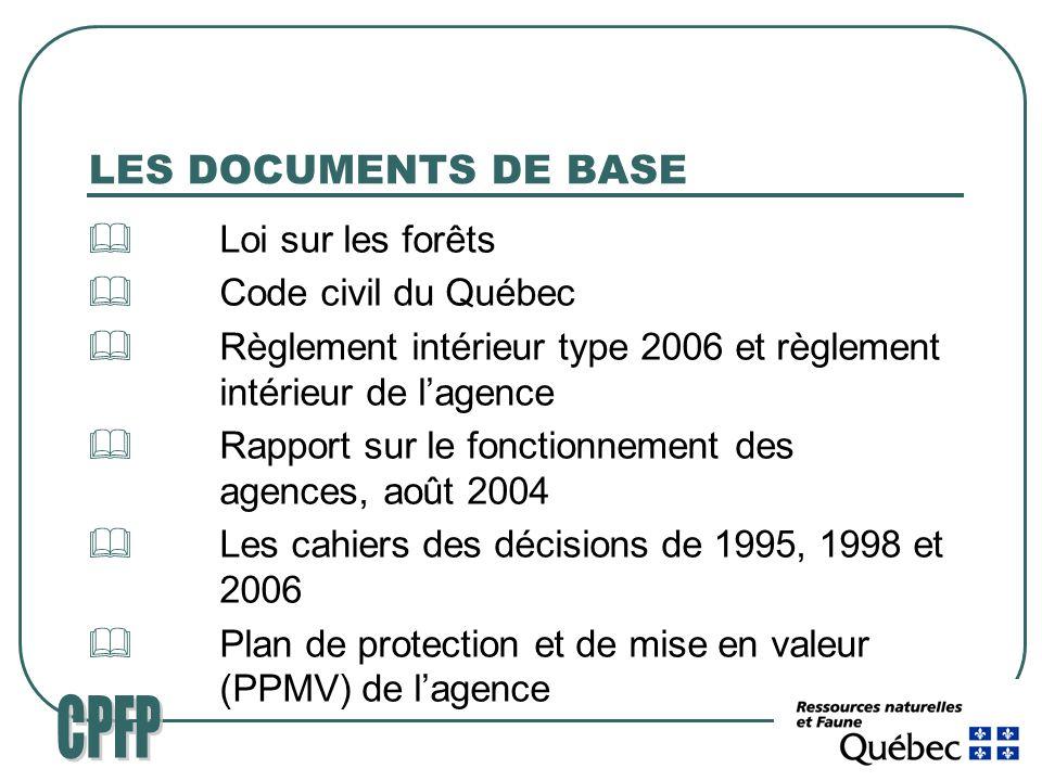 LES DOCUMENTS DE BASE Loi sur les forêts Code civil du Québec Règlement intérieur type 2006 et règlement intérieur de lagence Rapport sur le fonctionnement des agences, août 2004 Les cahiers des décisions de 1995, 1998 et 2006 Plan de protection et de mise en valeur (PPMV) de lagence