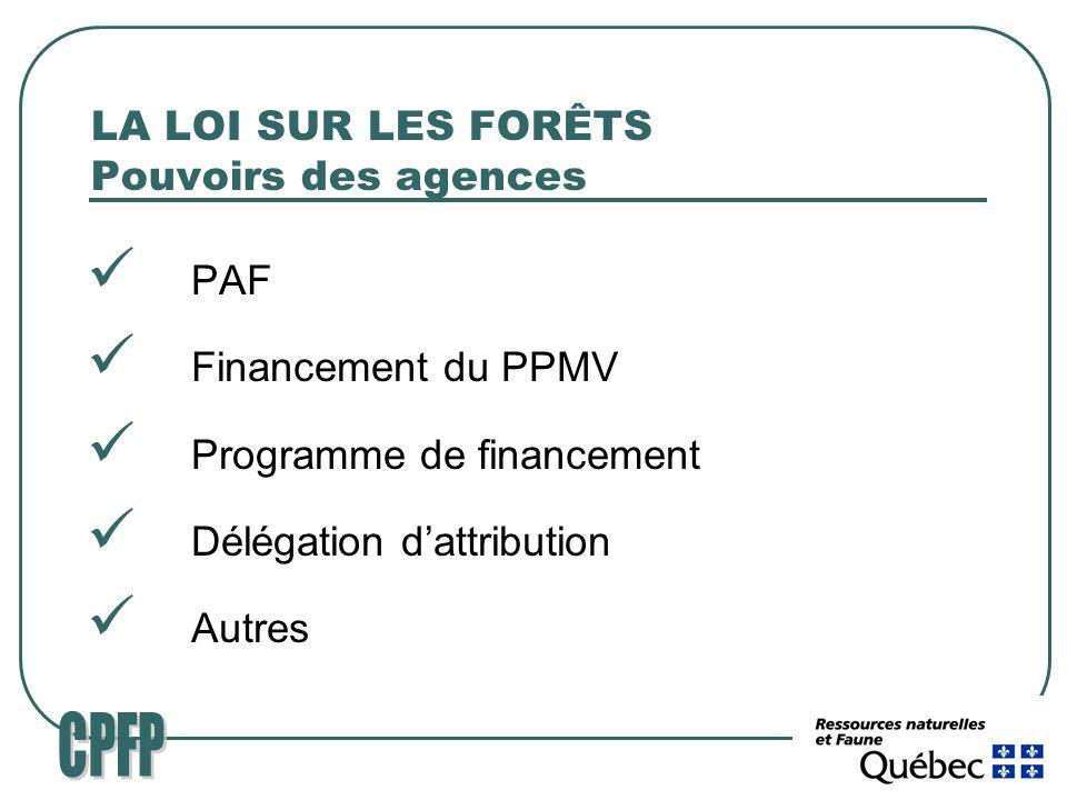 LA LOI SUR LES FORÊTS Pouvoirs des agences PAF Financement du PPMV Programme de financement Délégation dattribution Autres