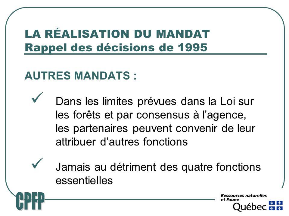 LA RÉALISATION DU MANDAT Rappel des décisions de 1995 AUTRES MANDATS : Dans les limites prévues dans la Loi sur les forêts et par consensus à lagence, les partenaires peuvent convenir de leur attribuer dautres fonctions Jamais au détriment des quatre fonctions essentielles
