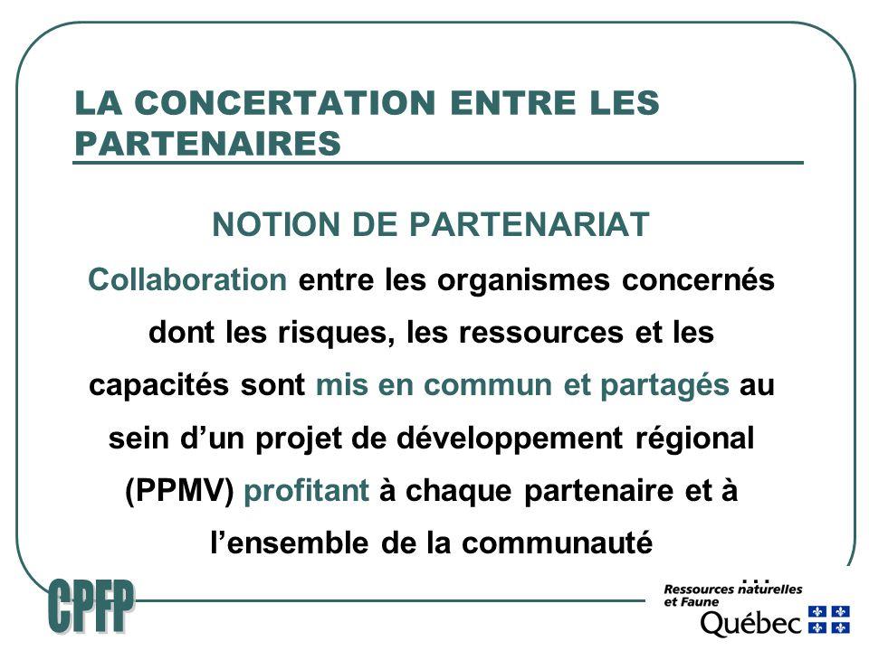 LA CONCERTATION ENTRE LES PARTENAIRES NOTION DE PARTENARIAT Collaboration entre les organismes concernés dont les risques, les ressources et les capacités sont mis en commun et partagés au sein dun projet de développement régional (PPMV) profitant à chaque partenaire et à lensemble de la communauté …