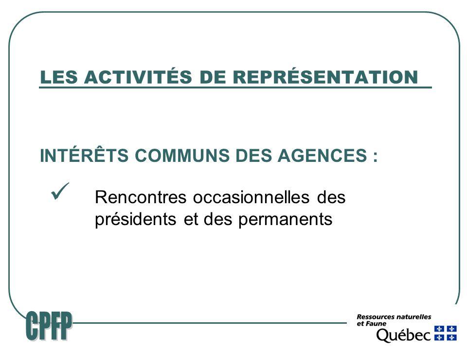 LES ACTIVITÉS DE REPRÉSENTATION INTÉRÊTS COMMUNS DES AGENCES : Rencontres occasionnelles des présidents et des permanents
