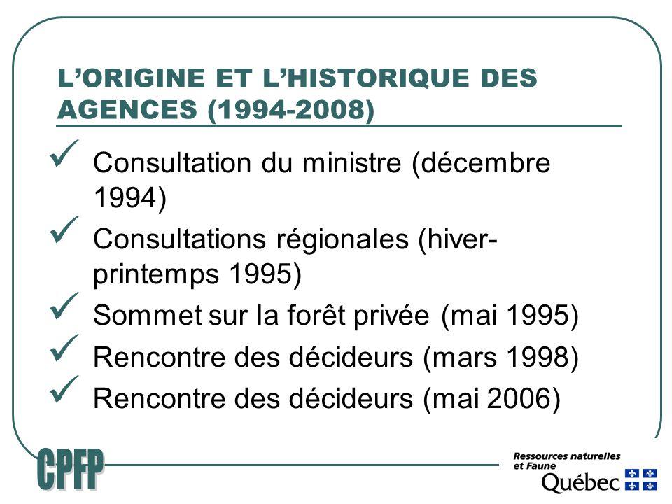 LORIGINE ET LHISTORIQUE DES AGENCES (1994-2008) Consultation du ministre (décembre 1994) Consultations régionales (hiver- printemps 1995) Sommet sur la forêt privée (mai 1995) Rencontre des décideurs (mars 1998) Rencontre des décideurs (mai 2006)