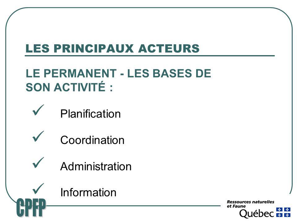 LES PRINCIPAUX ACTEURS LE PERMANENT - LES BASES DE SON ACTIVITÉ : Planification Coordination Administration Information