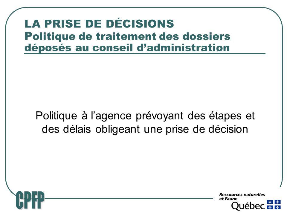 LA PRISE DE DÉCISIONS P olitique de traitement des dossiers déposés au conseil dadministration Politique à lagence prévoyant des étapes et des délais obligeant une prise de décision