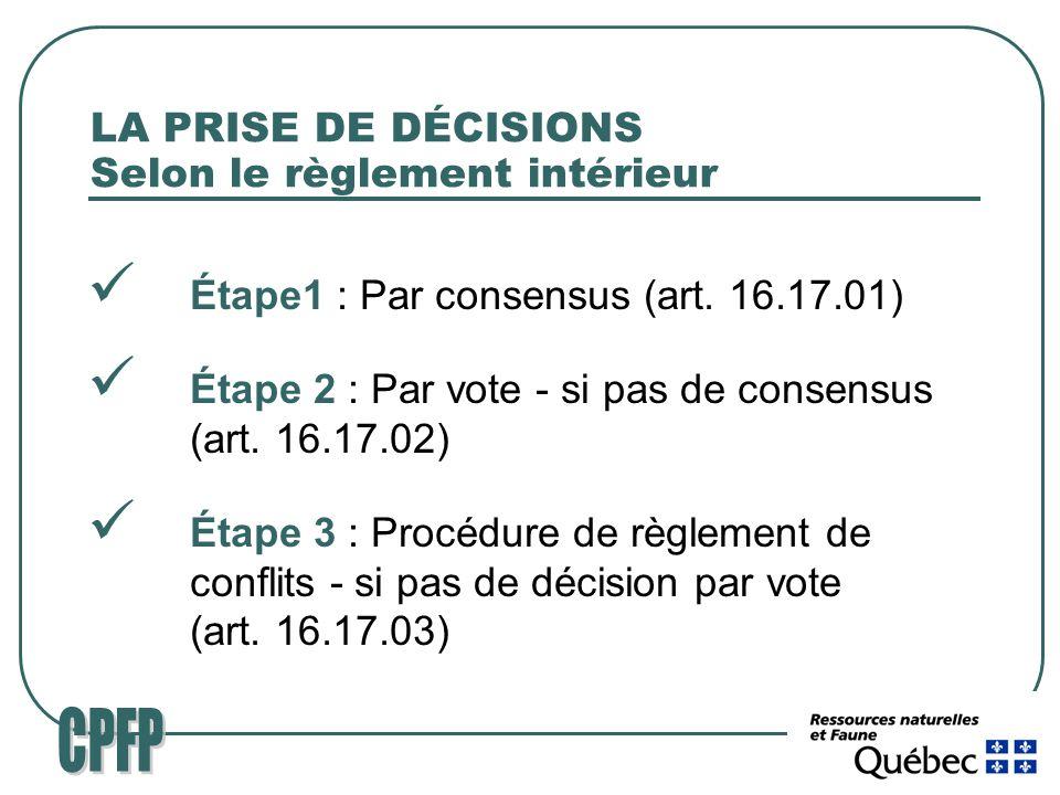 LA PRISE DE DÉCISIONS Selon le règlement intérieur Étape1 : Par consensus (art.