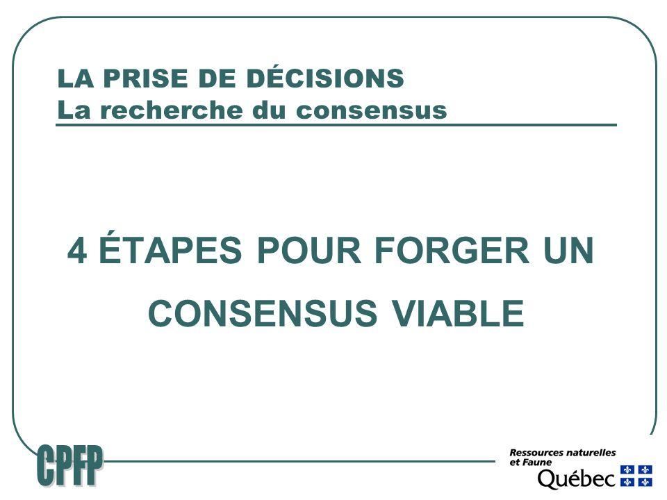 LA PRISE DE DÉCISIONS La recherche du consensus 4 ÉTAPES POUR FORGER UN CONSENSUS VIABLE