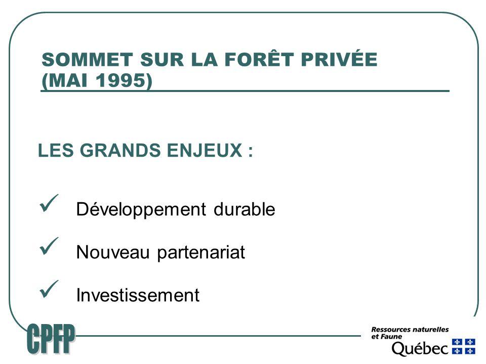 SOMMET SUR LA FORÊT PRIVÉE (MAI 1995) LES GRANDS ENJEUX : Développement durable Nouveau partenariat Investissement