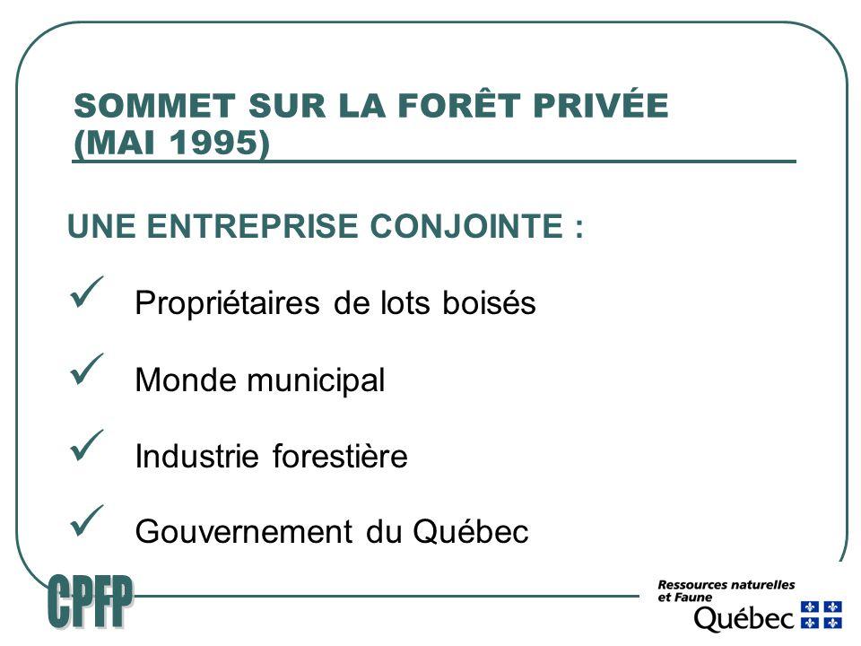 SOMMET SUR LA FORÊT PRIVÉE (MAI 1995) UNE ENTREPRISE CONJOINTE : Propriétaires de lots boisés Monde municipal Industrie forestière Gouvernement du Québec