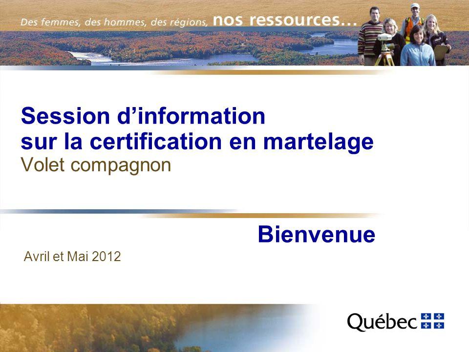 Session dinformation sur la certification en martelage Volet compagnon Avril et Mai 2012 Bienvenue