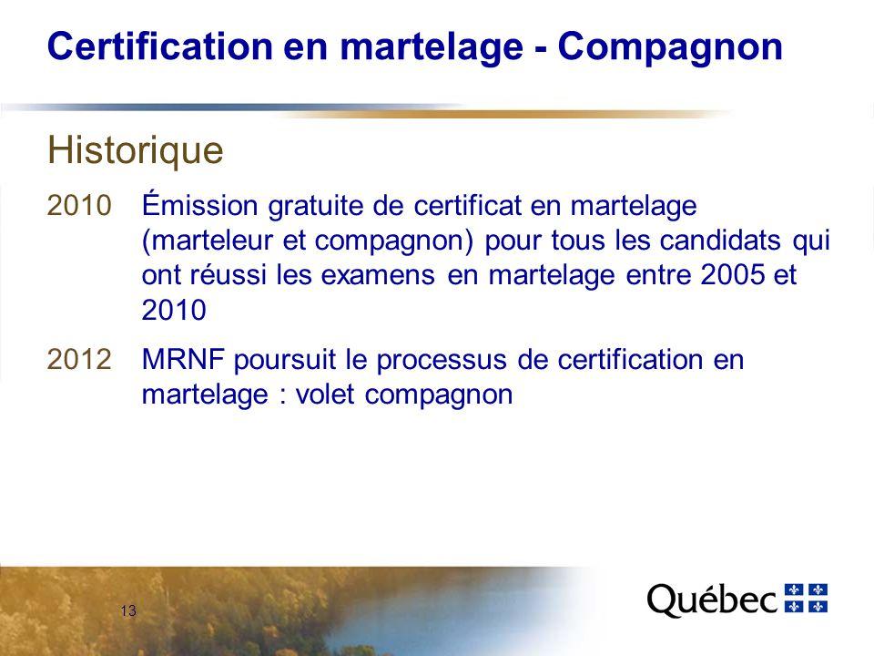 13 Certification en martelage - Compagnon Historique 2010Émission gratuite de certificat en martelage (marteleur et compagnon) pour tous les candidats qui ont réussi les examens en martelage entre 2005 et 2010 2012MRNF poursuit le processus de certification en martelage : volet compagnon