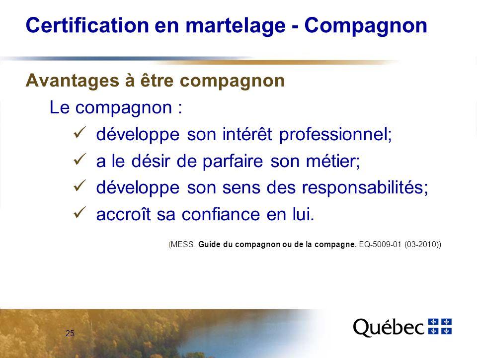 25 Certification en martelage - Compagnon Avantages à être compagnon Le compagnon : développe son intérêt professionnel; a le désir de parfaire son métier; développe son sens des responsabilités; accroît sa confiance en lui.