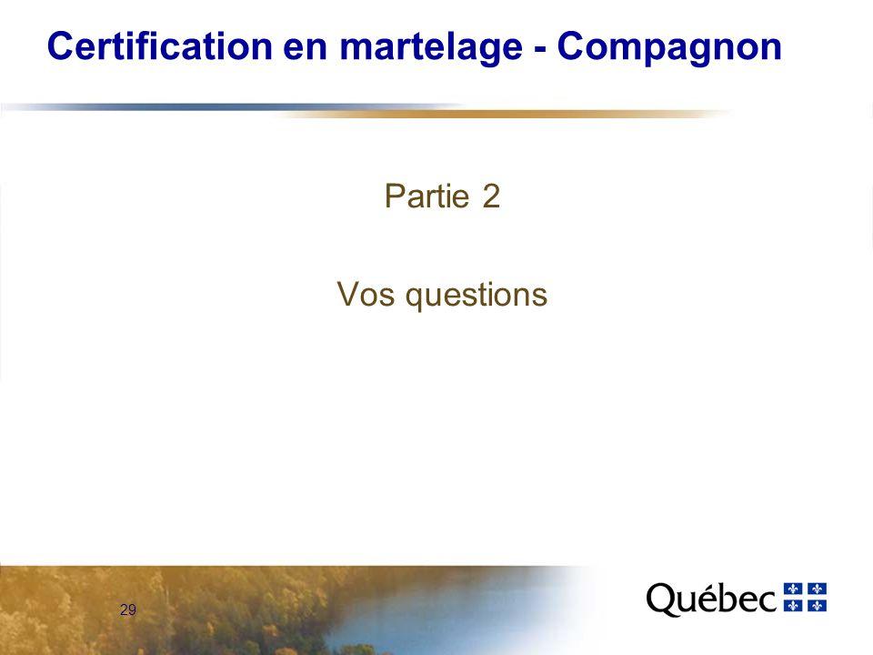 29 Certification en martelage - Compagnon Partie 2 Vos questions