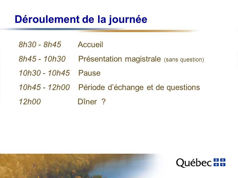 3 Déroulement de la journée 8h30 - 8h45 Accueil 8h45 - 10h30 Présentation magistrale (sans question) 10h30 - 10h45 Pause 10h45 - 12h00 Période déchange et de questions 12h00 Dîner