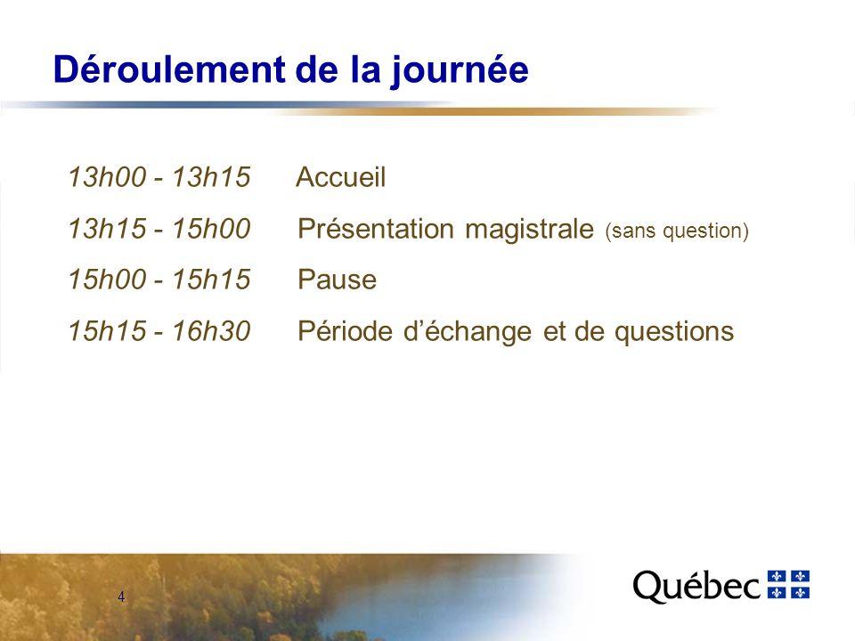 4 Déroulement de la journée 13h00 - 13h15 Accueil 13h15 - 15h00 Présentation magistrale (sans question) 15h00 - 15h15 Pause 15h15 - 16h30 Période déchange et de questions