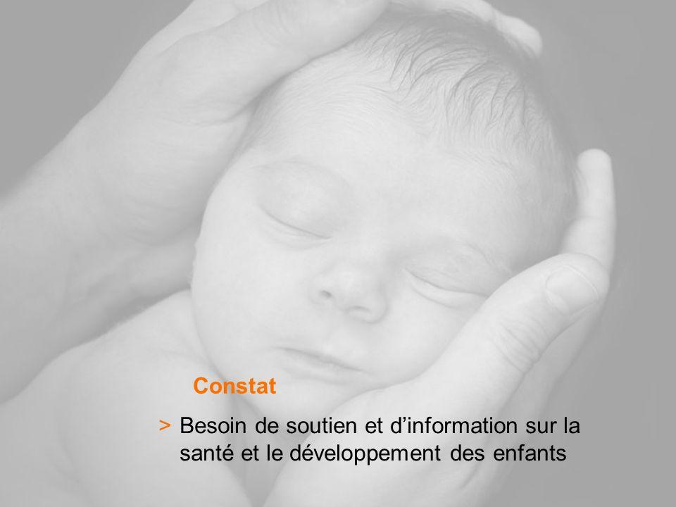 >Besoin de soutien et dinformation sur la santé et le développement des enfants Constat