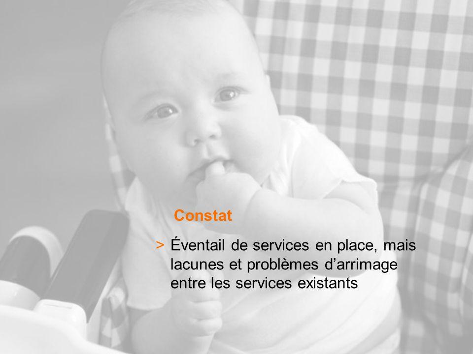 >Éventail de services en place, mais lacunes et problèmes darrimage entre les services existants Constat