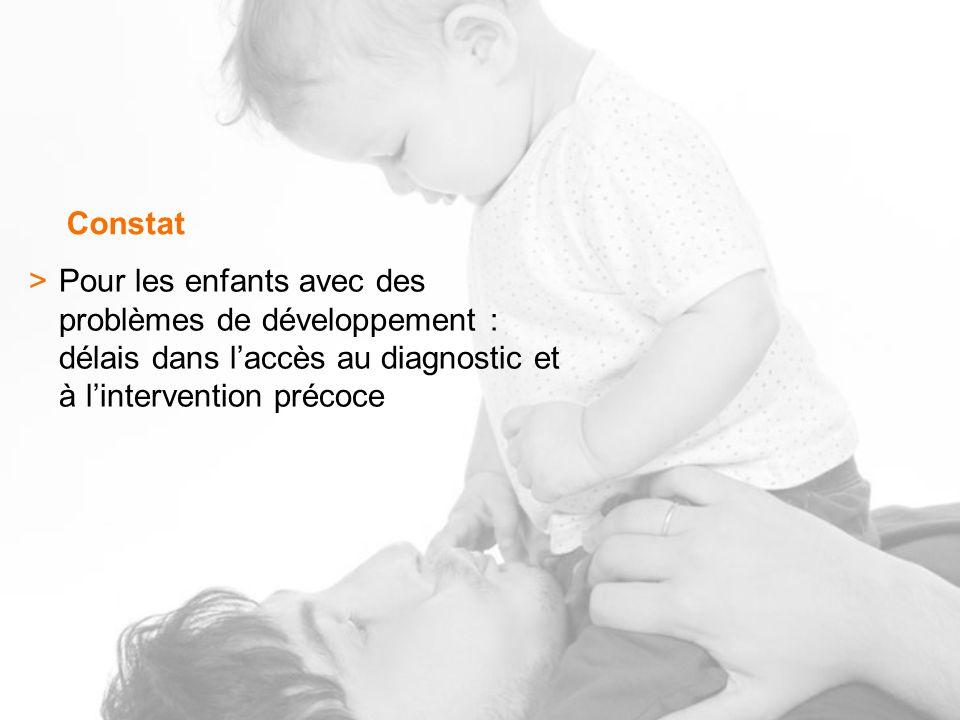 Constat >Pour les enfants avec des problèmes de développement : délais dans laccès au diagnostic et à lintervention précoce