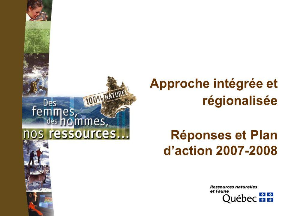 Approche intégrée et régionalisée Réponses et Plan daction 2007-2008