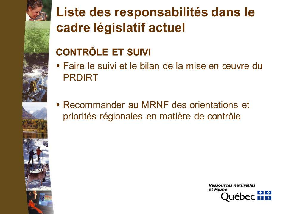 15 Liste des responsabilités dans le cadre législatif actuel CONTRÔLE ET SUIVI Faire le suivi et le bilan de la mise en œuvre du PRDIRT Recommander au MRNF des orientations et priorités régionales en matière de contrôle