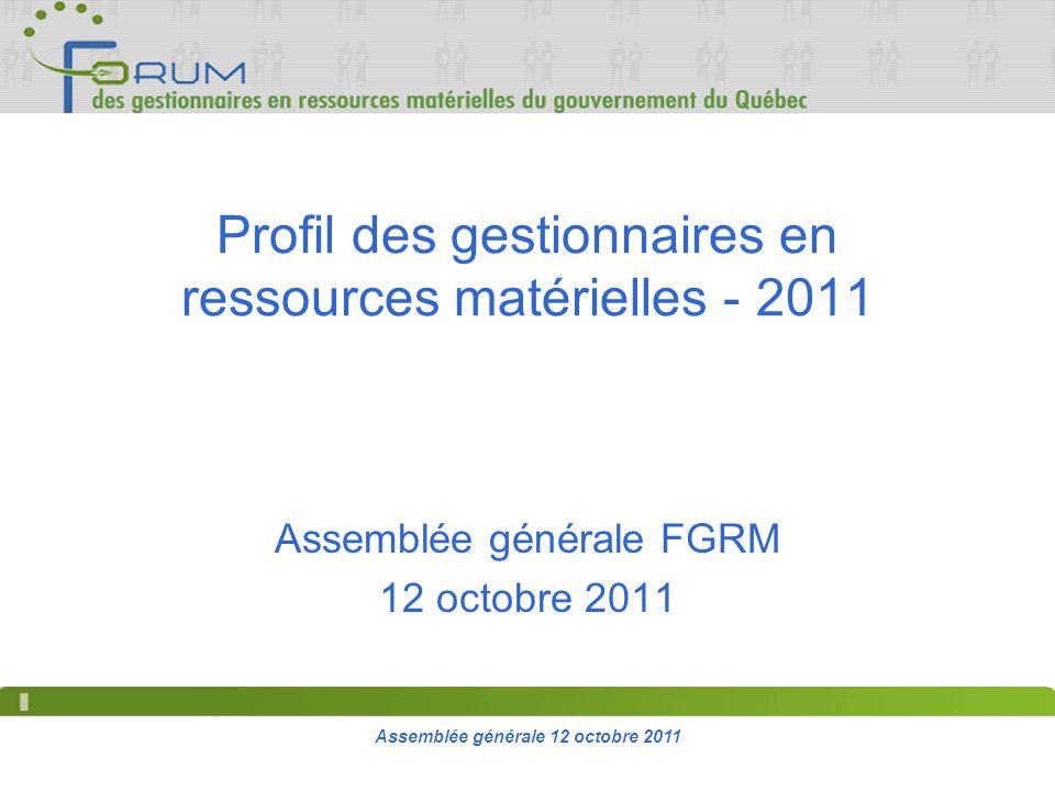 Assemblée générale 12 octobre 2011 Profil des gestionnaires en ressources matérielles - 2011 Assemblée générale FGRM 12 octobre 2011
