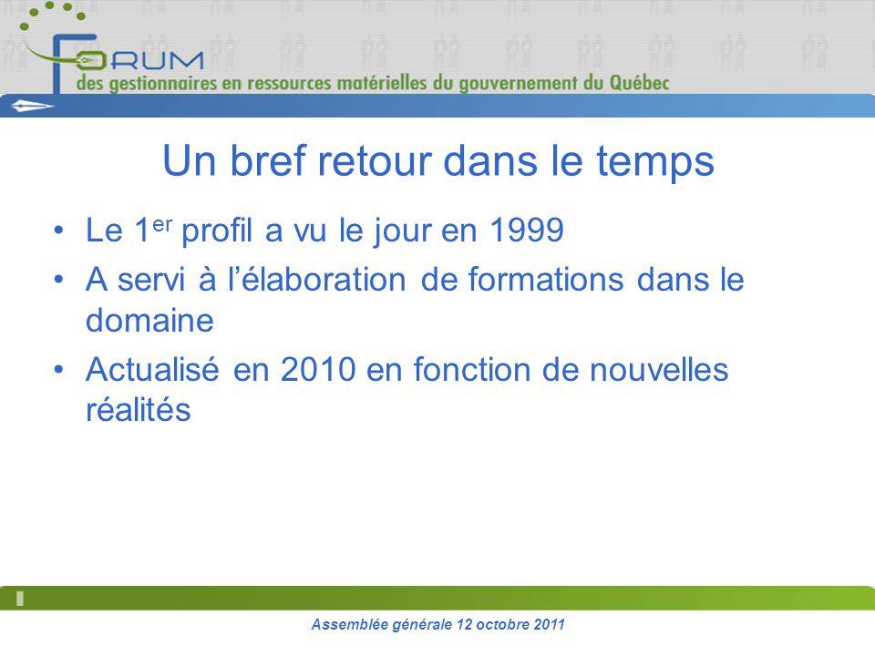 Assemblée générale 12 octobre 2011 Un bref retour dans le temps Le 1 er profil a vu le jour en 1999 A servi à lélaboration de formations dans le domaine Actualisé en 2010 en fonction de nouvelles réalités