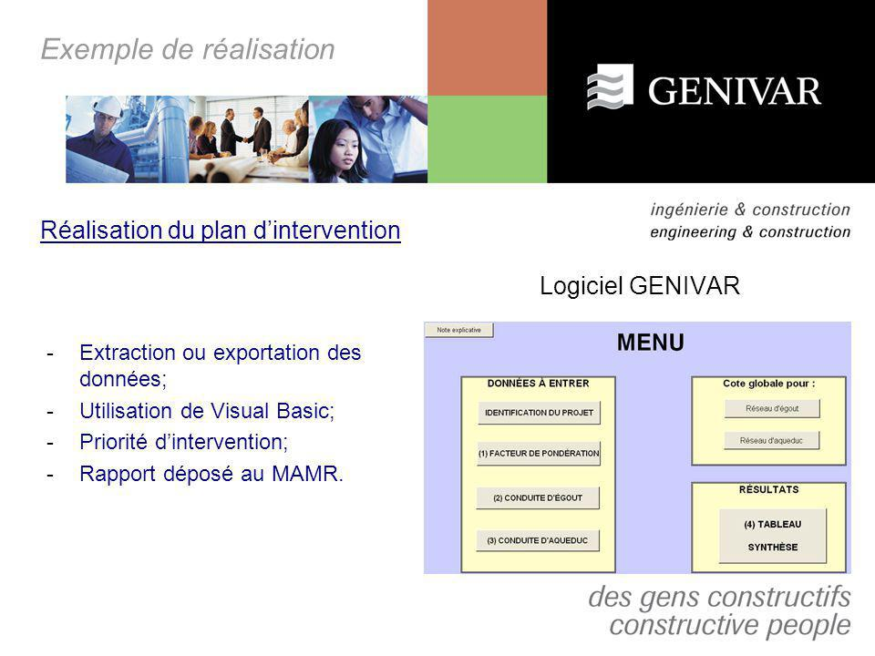 Exemple de réalisation Logiciel GENIVAR Réalisation du plan dintervention -Extraction ou exportation des données; -Utilisation de Visual Basic; -Prior