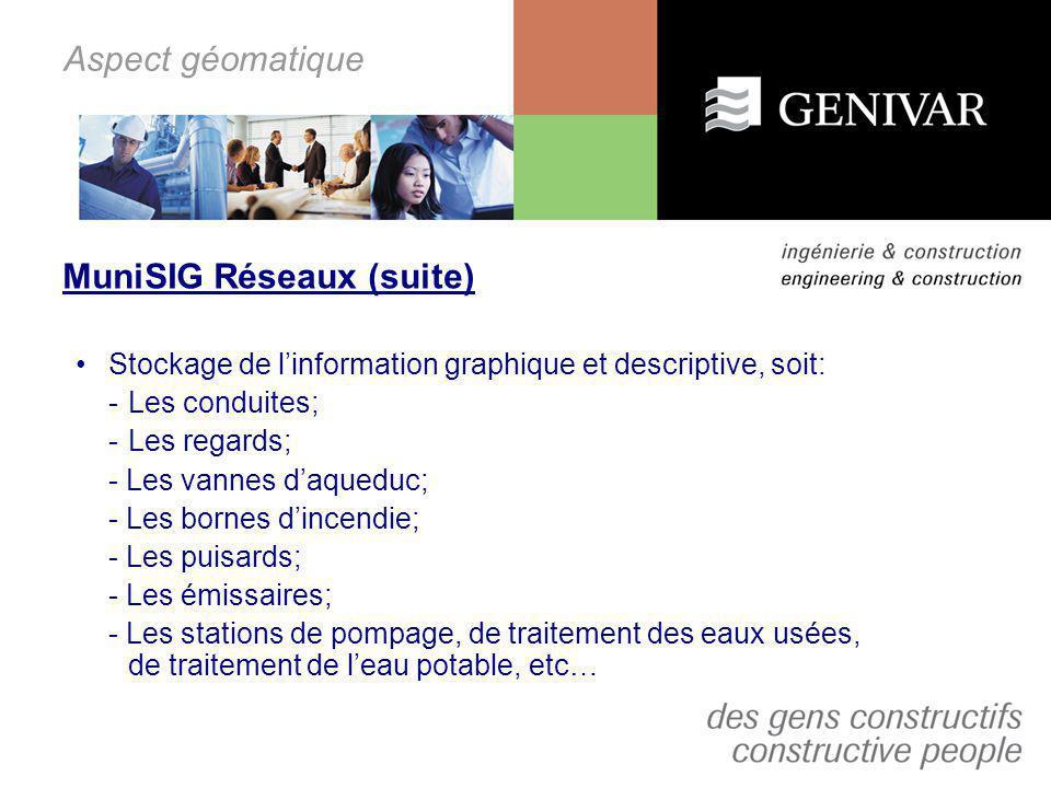 Aspect géomatique MuniSIG Réseaux (suite) Stockage de linformation graphique et descriptive, soit: - Les conduites; -Les regards; - Les vannes daquedu