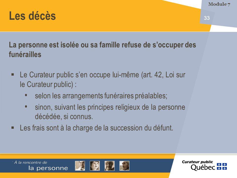 33 Les décès Le Curateur public sen occupe lui-même (art.