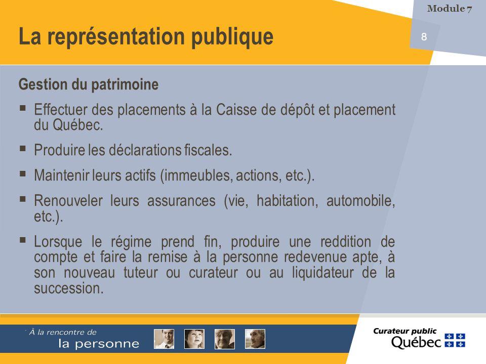 8 La représentation publique Gestion du patrimoine Effectuer des placements à la Caisse de dépôt et placement du Québec. Produire les déclarations fis