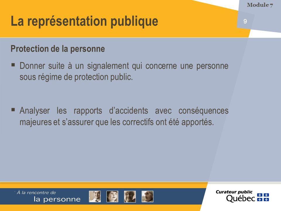 9 La représentation publique Protection de la personne Donner suite à un signalement qui concerne une personne sous régime de protection public.