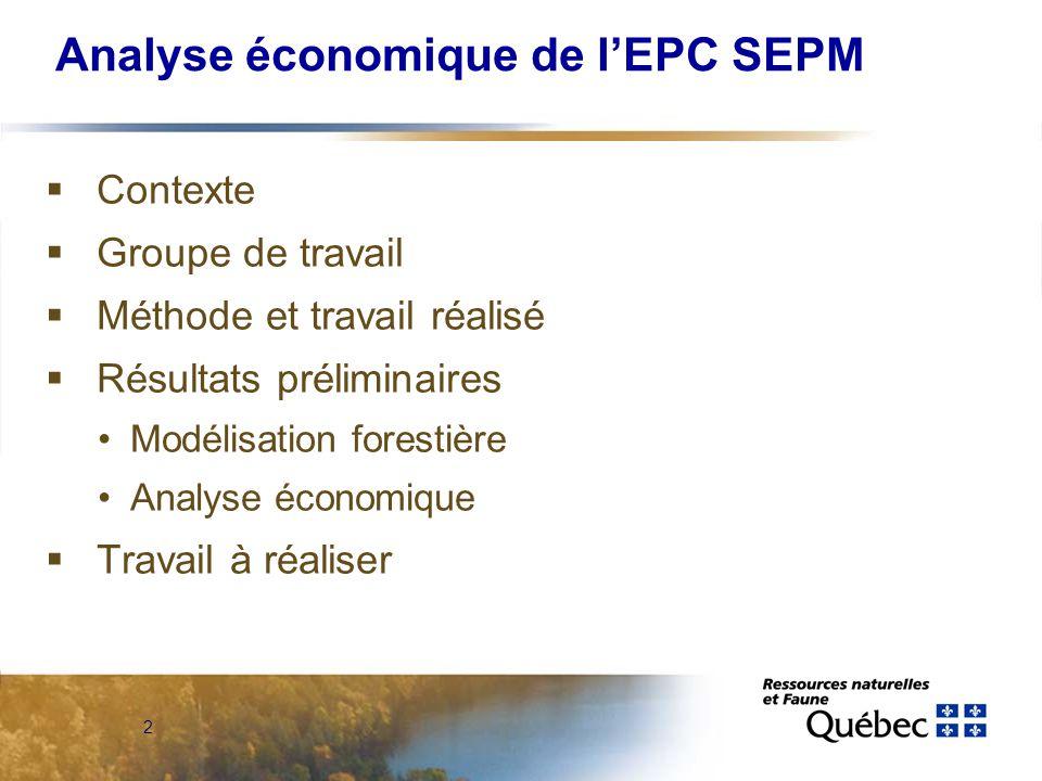 2 Analyse économique de lEPC SEPM Contexte Groupe de travail Méthode et travail réalisé Résultats préliminaires Modélisation forestière Analyse économique Travail à réaliser