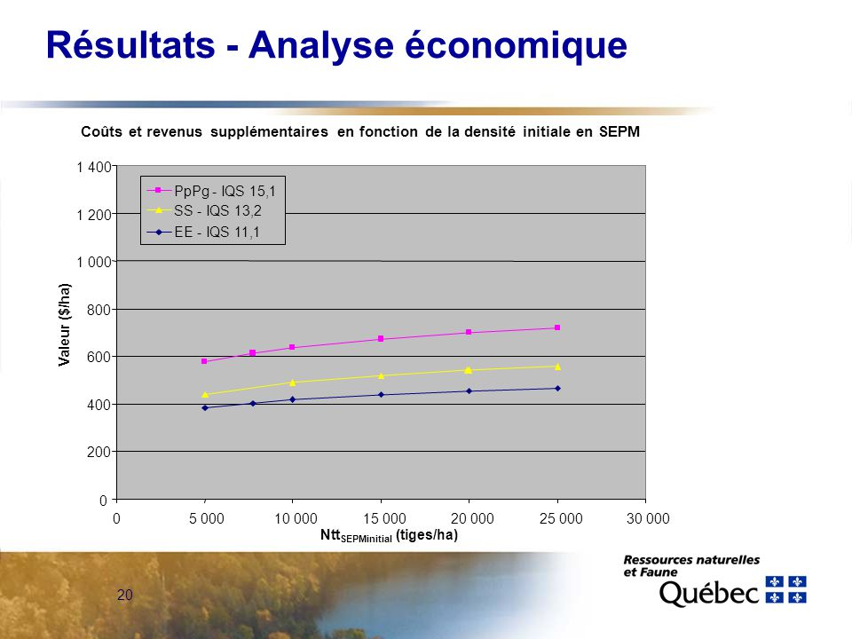 20 Résultats - Analyse économique Coûts et revenus supplémentaires en fonction de la densité initiale en SEPM 0 200 400 600 800 1 000 1 200 1 400 05 00010 00015 00020 00025 00030 000 Valeur ($/ha) PpPg - IQS 15,1 SS - IQS 13,2 EE - IQS 11,1 Ntt SEPMinitial (tiges/ha)