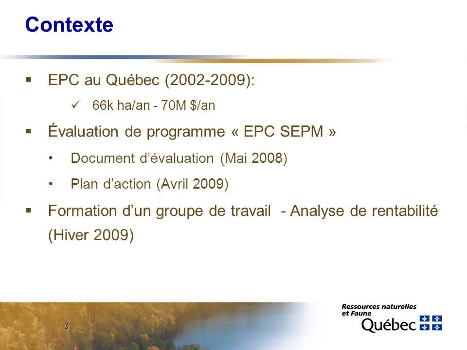 3 Contexte EPC au Québec (2002-2009): 66k ha/an - 70M $/an Évaluation de programme « EPC SEPM » Document dévaluation (Mai 2008) Plan daction (Avril 2009) Formation dun groupe de travail - Analyse de rentabilité (Hiver 2009)
