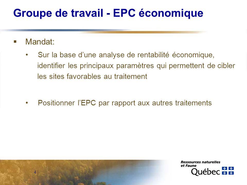 4 Groupe de travail - EPC économique Mandat: Sur la base dune analyse de rentabilité économique, identifier les principaux paramètres qui permettent de cibler les sites favorables au traitement Positionner lEPC par rapport aux autres traitements