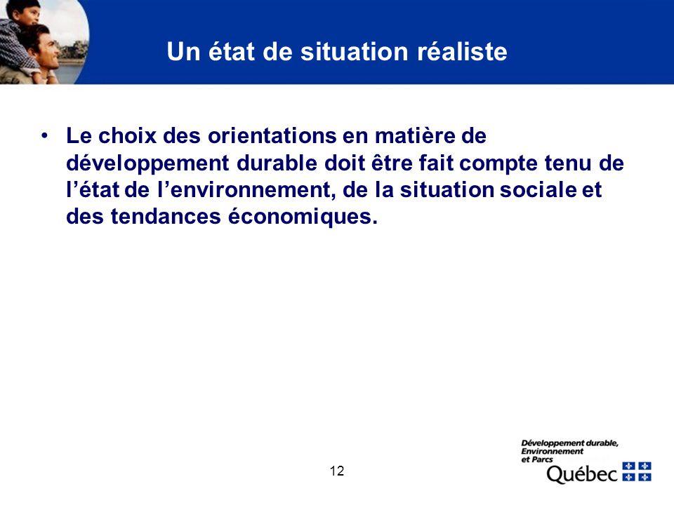 12 Un état de situation réaliste Le choix des orientations en matière de développement durable doit être fait compte tenu de létat de lenvironnement,
