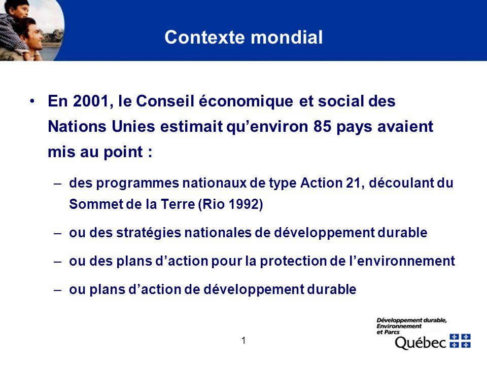 1 Contexte mondial En 2001, le Conseil économique et social des Nations Unies estimait quenviron 85 pays avaient mis au point : –des programmes nation