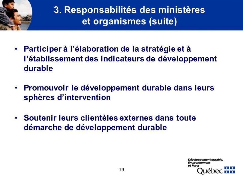 19 3. Responsabilités des ministères et organismes (suite) Participer à lélaboration de la stratégie et à létablissement des indicateurs de développem