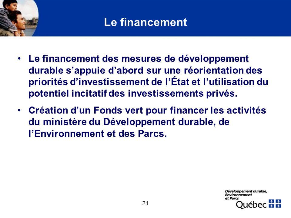 21 Le financement Le financement des mesures de développement durable sappuie dabord sur une réorientation des priorités dinvestissement de lÉtat et l