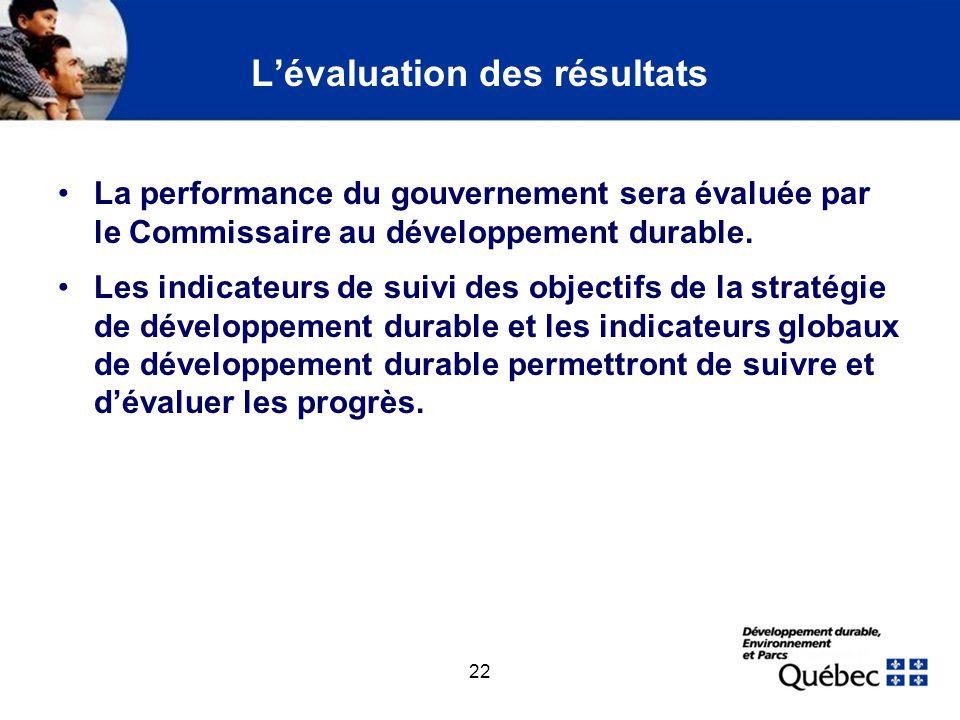22 Lévaluation des résultats La performance du gouvernement sera évaluée par le Commissaire au développement durable. Les indicateurs de suivi des obj