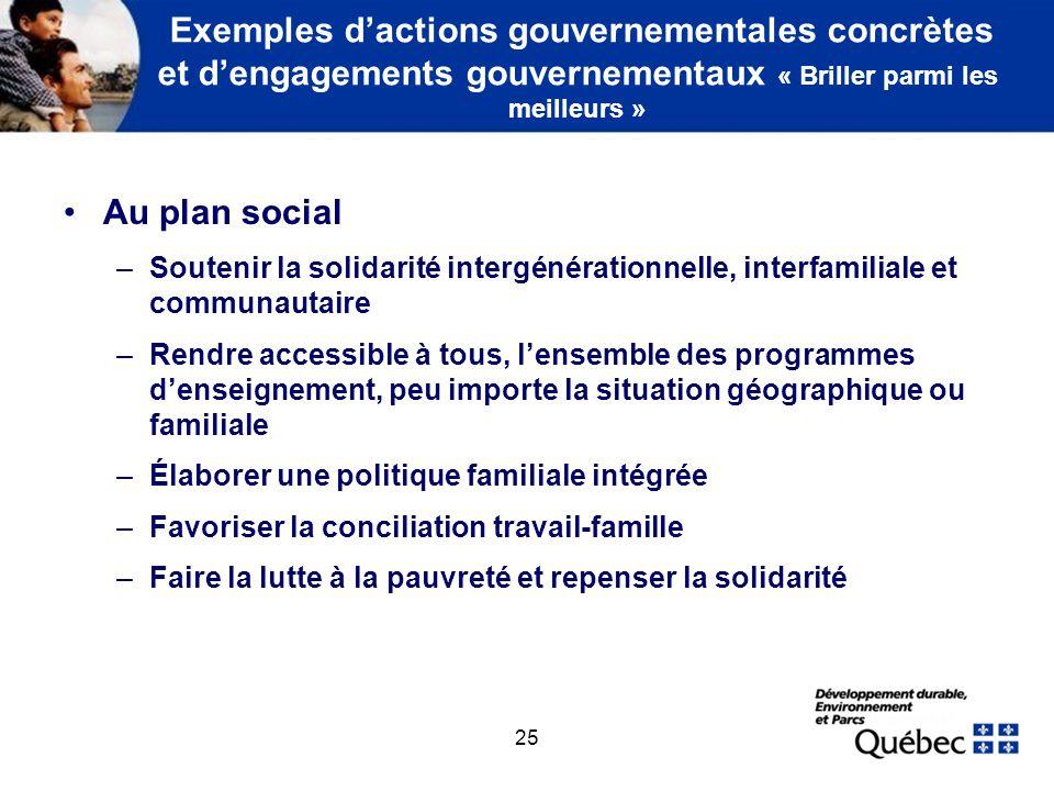 25 Exemples dactions gouvernementales concrètes et dengagements gouvernementaux « Briller parmi les meilleurs » Au plan social –Soutenir la solidarité