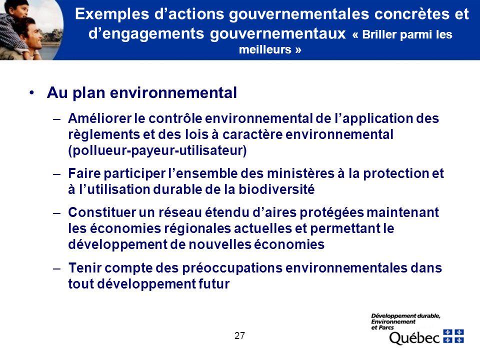 27 Exemples dactions gouvernementales concrètes et dengagements gouvernementaux « Briller parmi les meilleurs » Au plan environnemental –Améliorer le
