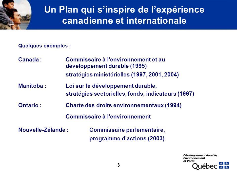 3 Un Plan qui sinspire de lexpérience canadienne et internationale Quelques exemples : Canada : Commissaire à lenvironnement et au développement durab